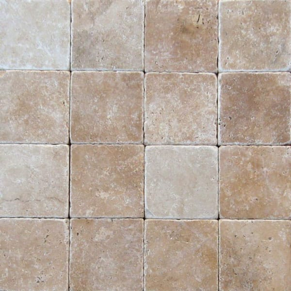 Ancient Castle 6x6 Tumbled Travertine Paver