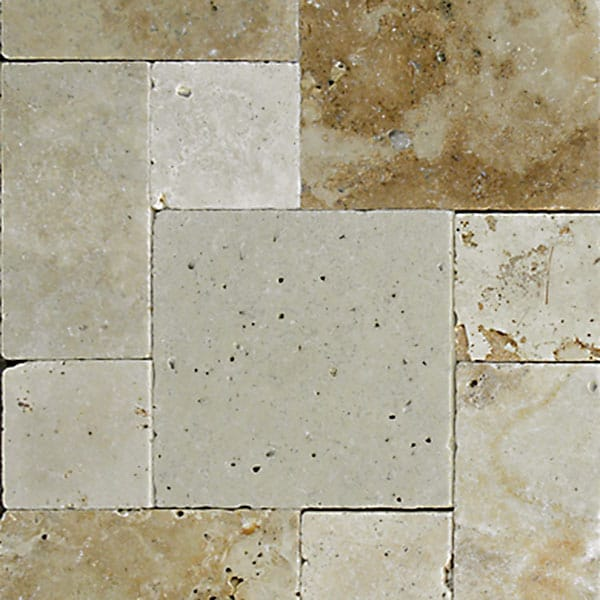 Light Earth Versailles Pattern Tumbled Travertine Paver