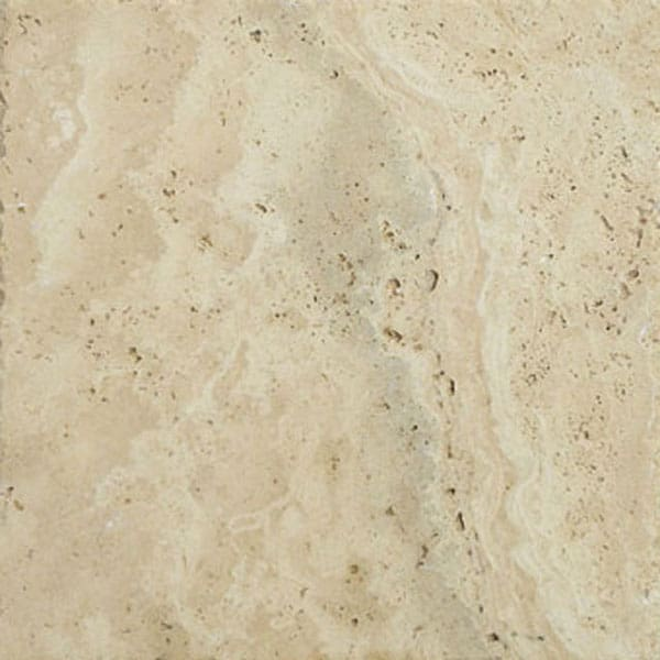 Light Walnut 6x6 Unfilled Brushed and Chiseled Travertine Paver