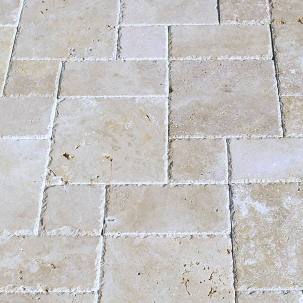 QDI Walnut Roman Pattern Unfilled Brushed and Chiseled Travertine Paver