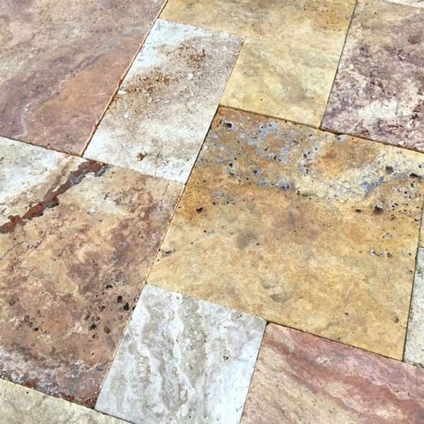 Sedona Fantastico Versailles Pattern Tumbled Travertine Paver